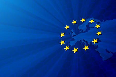 Europäische Union. Vector Europa-Karte mit Flagge der Europäischen Union. Blauer Hintergrund und gelben Sternen.
