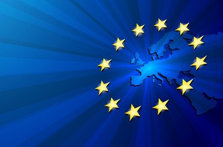 Unia Europejska. Wektor mapa Europy z flagi Unii Europejskiej. Niebieskie tło i żółte gwiazdki. Ilustracje wektorowe