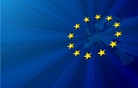 Europeese Unie. Vector kaart van Europa met de Europese Unie vlag. Blauwe achtergrond en gele sterren. Stockfoto - 53407918