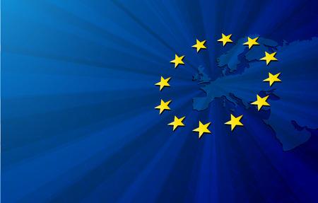 europa: Unión Europea. Vector de Europa Mapa de la bandera de la Unión Europea. fondo azul y estrellas amarillas.