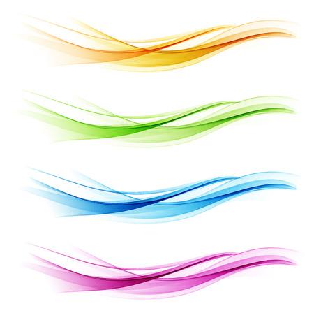 Zestaw streszczenie kolor fali. Kolor dymu fal. Przezroczysty kolor fali. Niebieski, różowy, pomarańczowy, zielony kolor. Falista konstrukcja