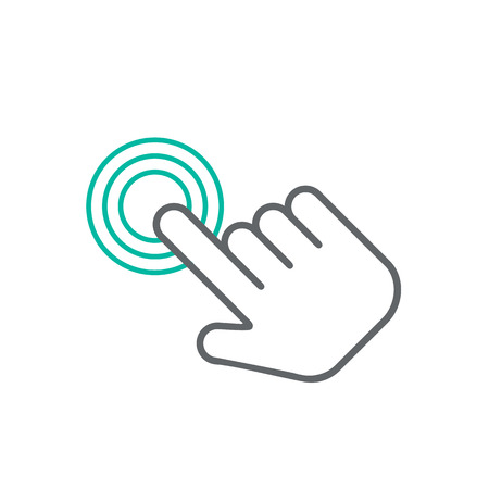 Click hand icon, click hand icon vector, flat click hand icon design. White click hand icon on white background