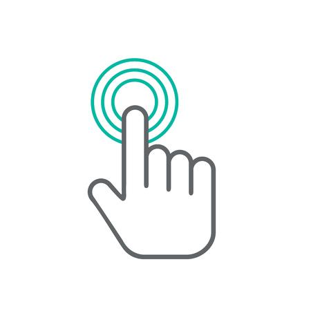 Klicken Hand-Symbol, klicken Sie auf der Hand Symbol Vektor, flach Klick Hand Icon-Design. Weiß Klick-Hand-Symbol auf weißem Hintergrund Vektorgrafik