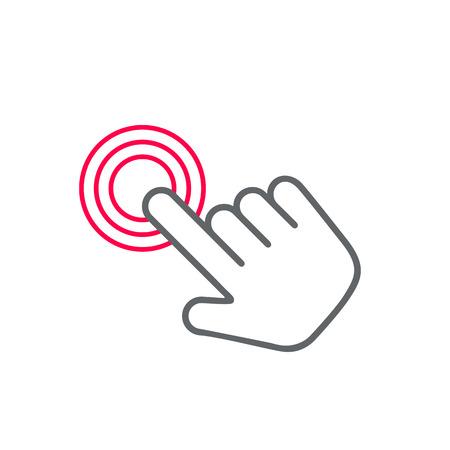 Haga clic en icono de la mano, haga clic en el icono vector de mano, haga clic en el diseño de iconos mano plana. Blanco icono clic mano sobre fondo blanco