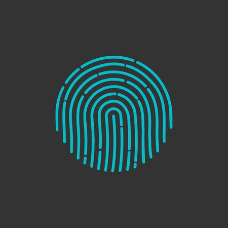 Identificación icono de la aplicación. ilustración vectorial de huellas digitales. Icono de huellas dactilares. huella digital del vector del icono. Icono de la muestra de huellas digitales. Icono de la huella dactilar plana. icono de la huella digital de aplicaciones