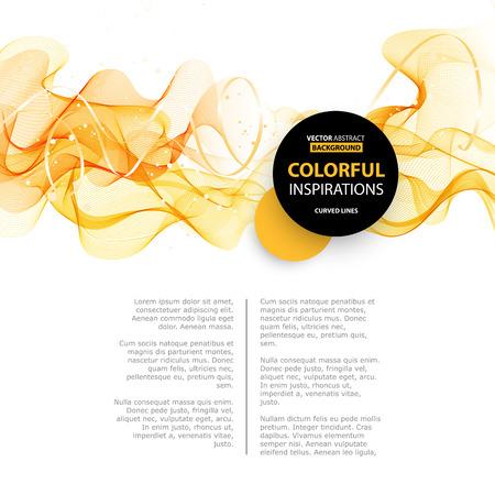 オレンジ色の抽象的な波のデザイン要素。抽象的な滑らかな色波形ベクトル。フロー オレンジ運動図をカーブします。オレンジ色の煙の波のライン  イラスト・ベクター素材