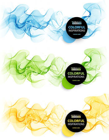blue wave: Set of Abstract smooth color wave vector. Curve flow blue, green, orange motion illustration for design website, brochure, banner