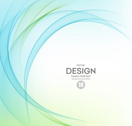 abstract: Abstract vector achtergrond, blauw en groen zwaaide lijnen. Stock Illustratie