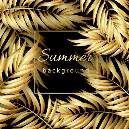 Gold Palm Blätter-Muster auf schwarzem Hintergrund Vektorgrafik