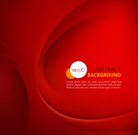 rojo: Plantilla roja del vector Resumen de fondo con líneas curvas y sombras.