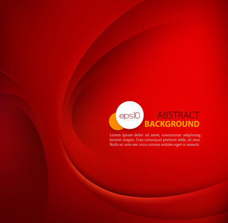 Red vector Template Abstract background with curves lines and shadow. Vettoriali