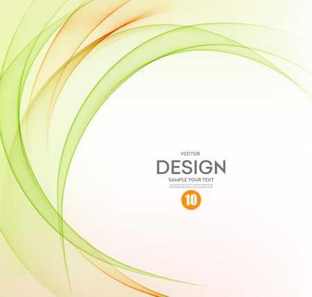 抽象的なベクトルの背景、オレンジとグリーンは、パンフレット、ウェブサイト、フライヤーのデザインのためのラインを振った。 図 eps10