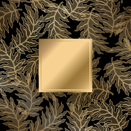 rich black wallpaper: Vector vintage gold card with damask pattern  EPS 10