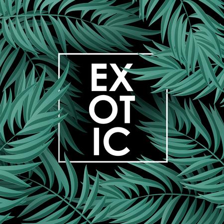 Green Palm laat patroon op een zwarte achtergrond