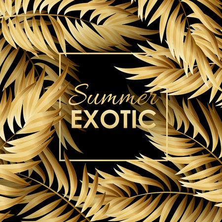 Gold Palm leaves pattern on black background