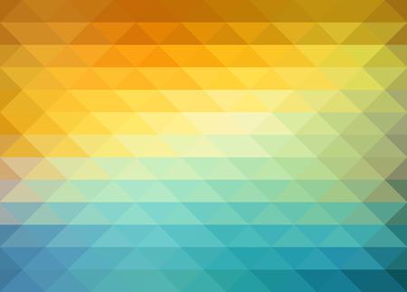 sfondo geometrico astratto con triangoli di colore arancione, blu e giallo. Illustrazione vettoriale Estate disegno di sole.
