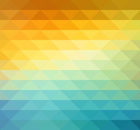Abstract geometric background with orange, blue and yellow triangles. Vector illustration Summer sunny design. Stock Illustratie