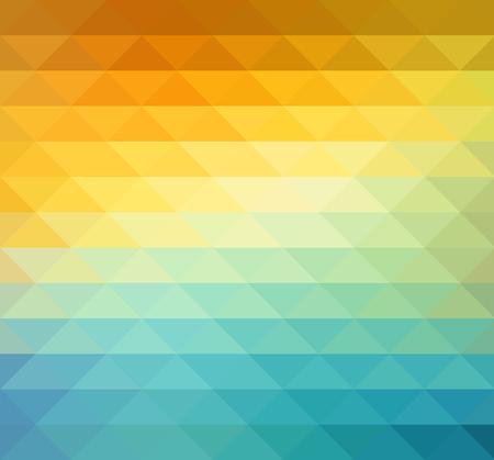 sfondo geometrico astratto con triangoli di colore arancione, blu e giallo. Illustrazione vettoriale Estate disegno di sole. Vettoriali