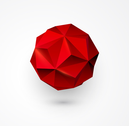 red sphere: Abstract Vector polygon shape.  Red low poly sphere. Illustration