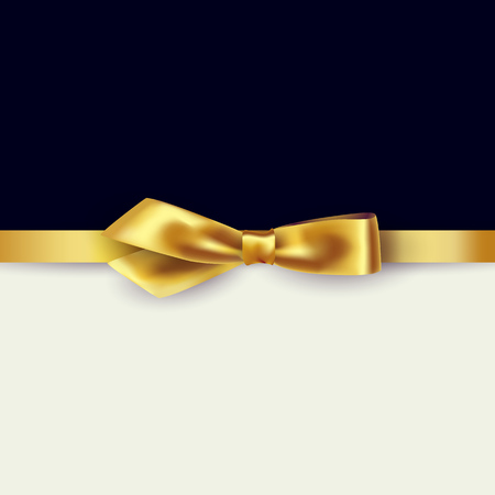 Shiny gold satin ribbon on white and black background. Vector