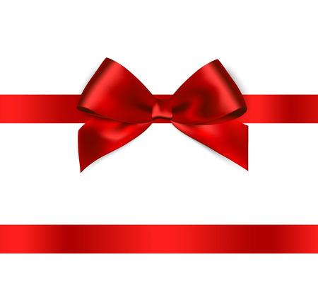 Shiny nastro di raso rosso su sfondo bianco. Vettore Vettoriali