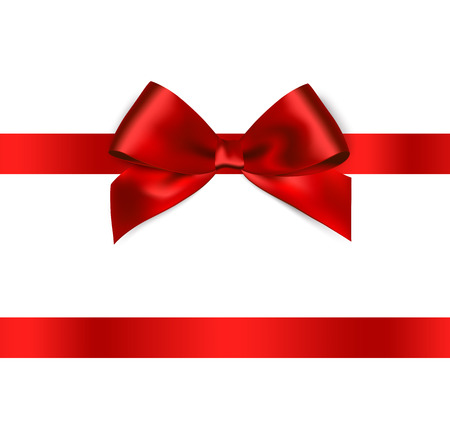 Shiny red satin ribbon on white background. Vector