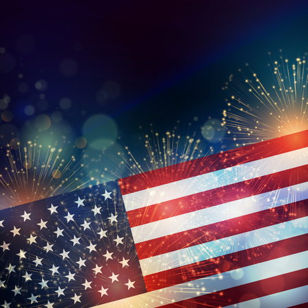 forth: United States flag. Fireworks background for USA Independence Day. Fourth of July celebrate