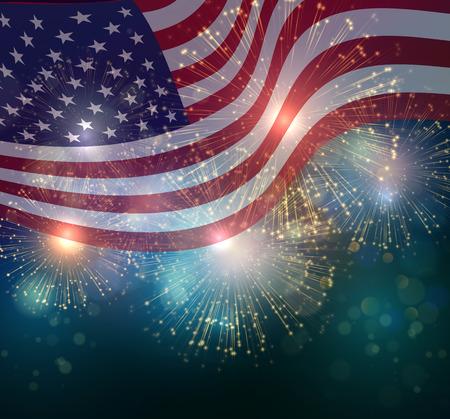 Stany Zjednoczone flag. Fajerwerki tło dla USA Dzień Niepodległości. Czwartego lipca świętować Ilustracje wektorowe