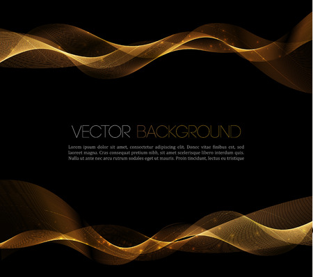 Abstract gold luxury wave layout background. Vector illustration Vettoriali