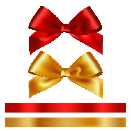 nudos: cinta roja y oro brillante del satén en el fondo blanco. Vector Vectores