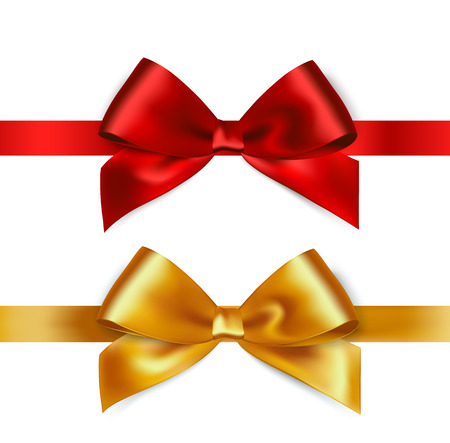 Shiny red and gold satin ribbon on white background. Vector Banco de Imagens - 54436536