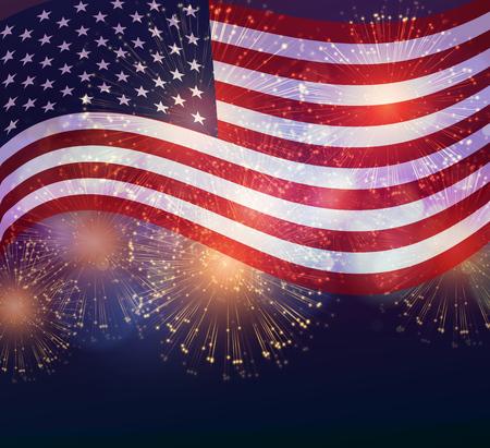 미국 국기. 미국 독립 기념일 불꽃 놀이 배경입니다. 7 월 넷째 축하