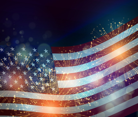 Bandera de los Estados Unidos. Los fuegos artificiales de fondo para EE.UU. Día de la Independencia. Cuatro de Julio celebrar