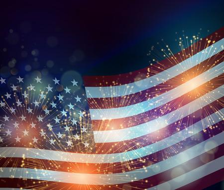 drapeau des Etats-Unis. Feux d'artifice fond pour les USA Jour de l'Indépendance. Quatrième de Juillet célébrer