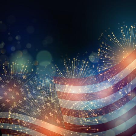 julio: Bandera de los Estados Unidos. Los fuegos artificiales de fondo para EE.UU. Día de la Independencia. Cuatro de Julio celebrar