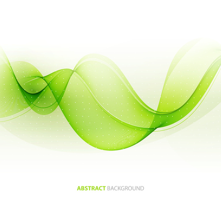 background green: Abstract green wavy lines.  Colorful vector background Illustration