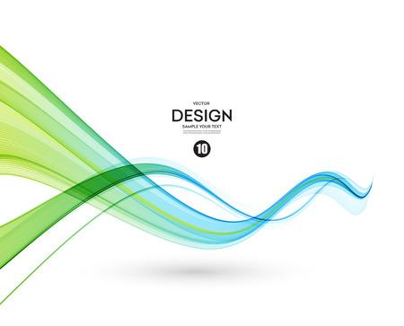 Resumen azul, verde color ola elemento de diseño. Azul y verde de onda Ilustración de vector