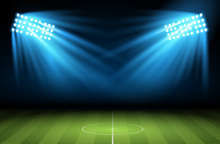 searchlight: Football arena. Soccer field with searchlight, spotlight, projector