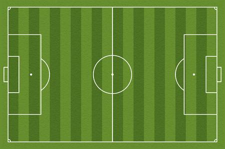 Campo de fútbol, ??ilustración. Campo de fútbol con líneas y áreas. Marcando el campo de fútbol. normas sobre el tamaño cancha de fútbol. 105: 68 m Ilustración de vector