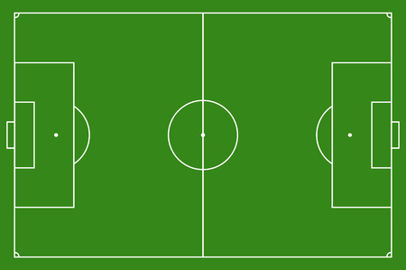 soccer pitch: Soccer field, illustration. Football field with lines and areas. Marking the football field. soccer field size regulations.  105 : 68 m