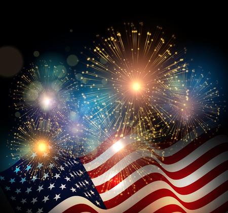 празднование: Соединенные Штаты флаг. фон Фейерверк на День независимости США. Четвертое июля отметит Иллюстрация