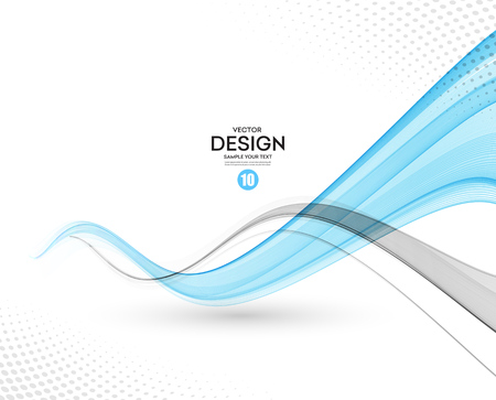 grey background: Abstract vector background, gray and blue waved lines for brochure, website, flyer design.  illustration