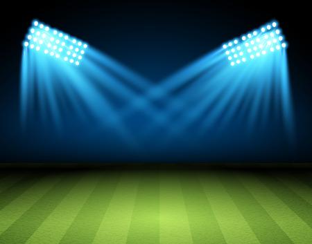 Arena Football. pole wektorowe Soccer z szperacz, reflektor, projektor