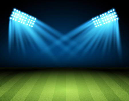 searchlight: Football arena. Vector Soccer field with searchlight, spotlight, projector