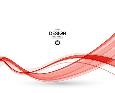 vector de onda de color liso abstracto. Curva flujo ilustración movimiento rojo Ilustración de vector