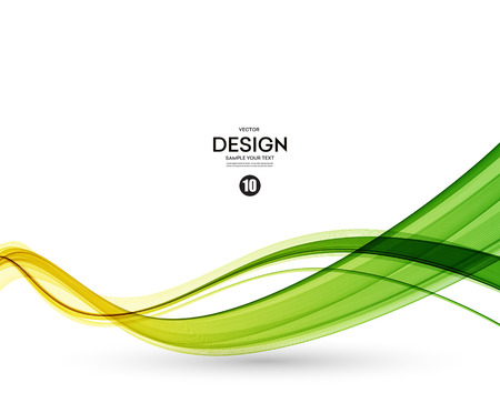 Abstract color wave design element. Yellow and green wave
