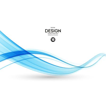 Fondo abstracto del vector, azul transparente líneas para folleto, página web, diseño de volante agitaban. ola humo azul. Fondo ondulado azul