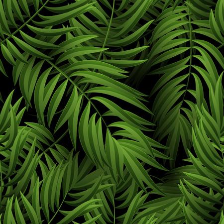 ヤシの葉と花柄シームレスな熱帯ジャングル。ベクトルの図。緑のヤシの葉パターン黒の背景