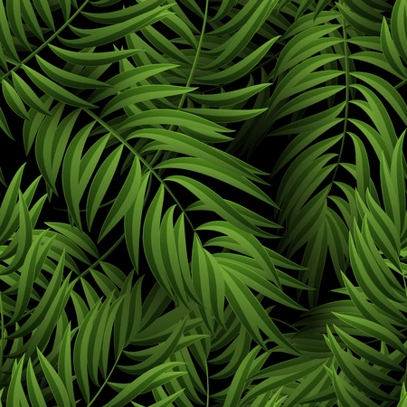 Seamless tropical jungle floral pattern with palm fronds. Vector illustration. Green Palm leaves pattern on black background Vettoriali