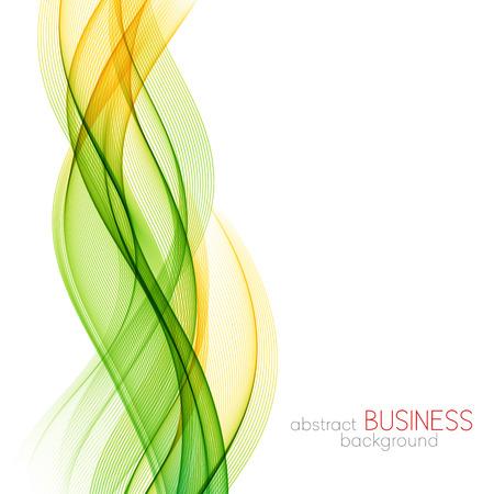 抽象的な波のデザイン要素。黄色と緑の波
